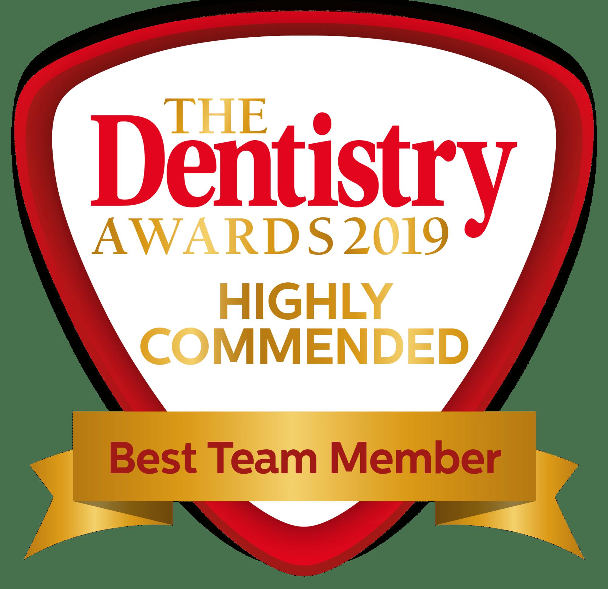 Dentistry awards 2020 best team member highly commended badge