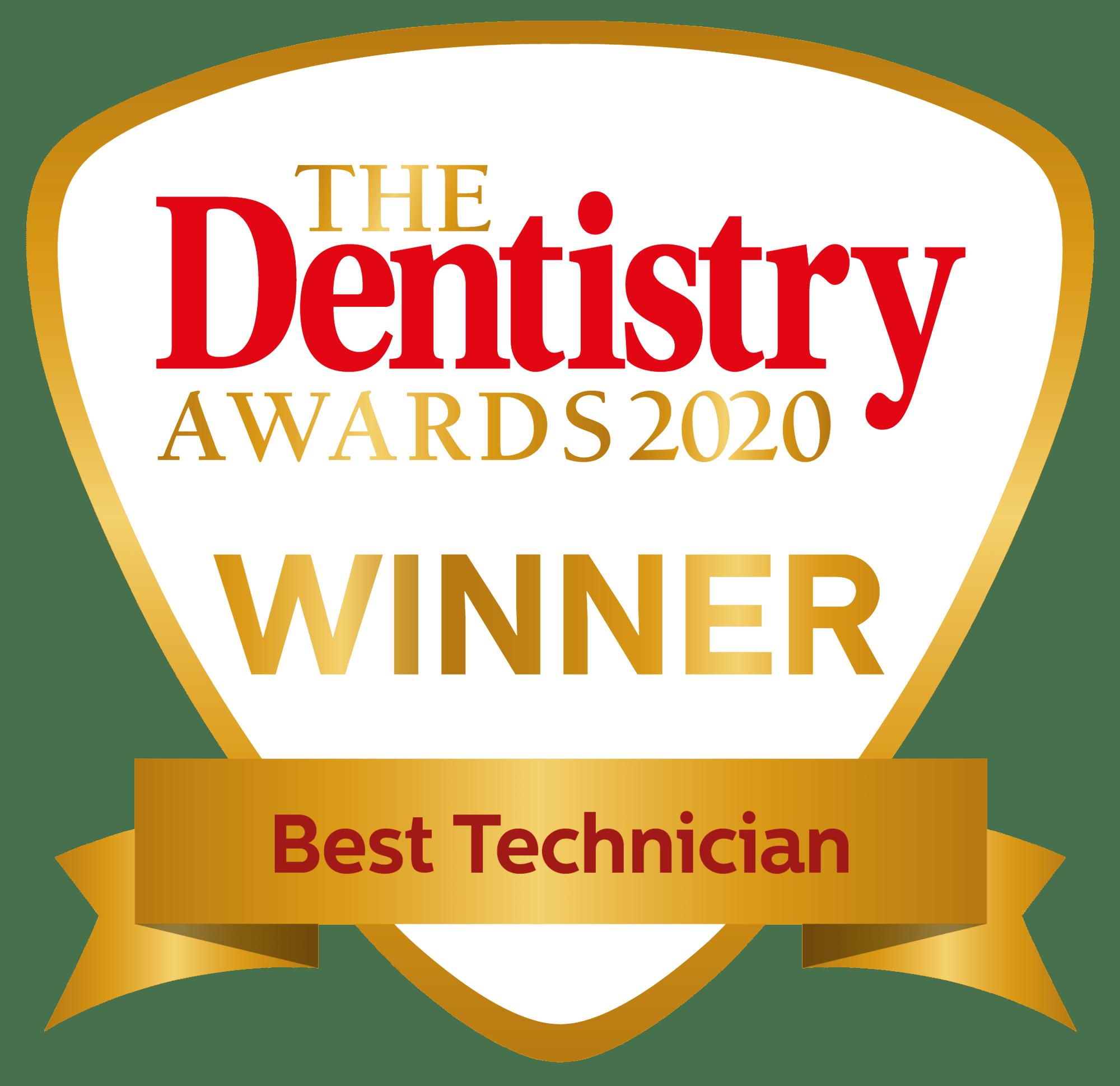 Dentistry awards 2020 best technician winner badge